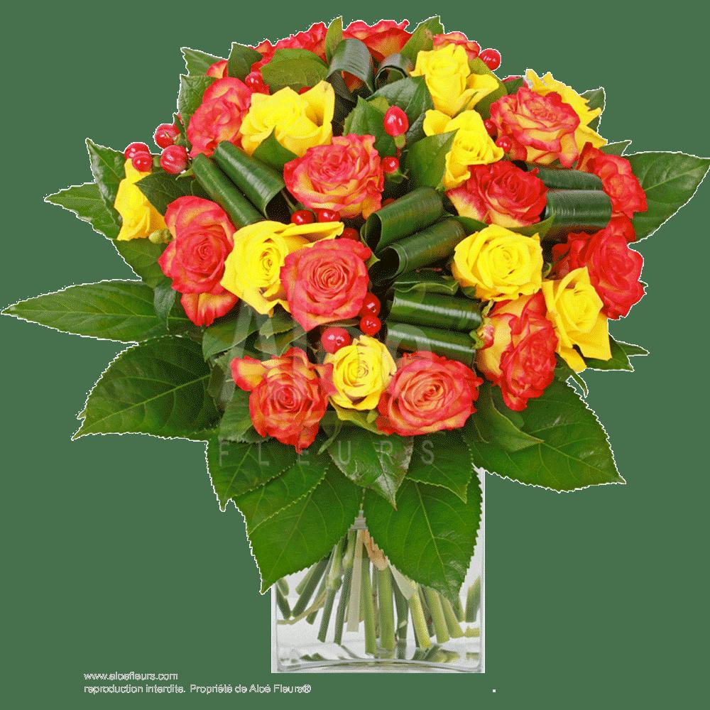 Bouquet-Roses-Jaune-&-orange