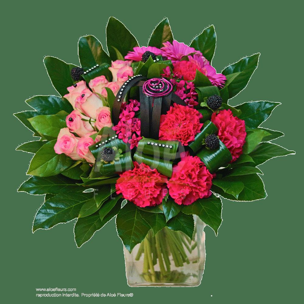 Bouquet-rond-Roses-spirale-métal