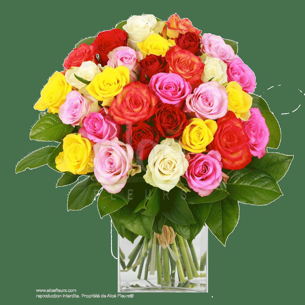 Bouquet-roses-multicolores