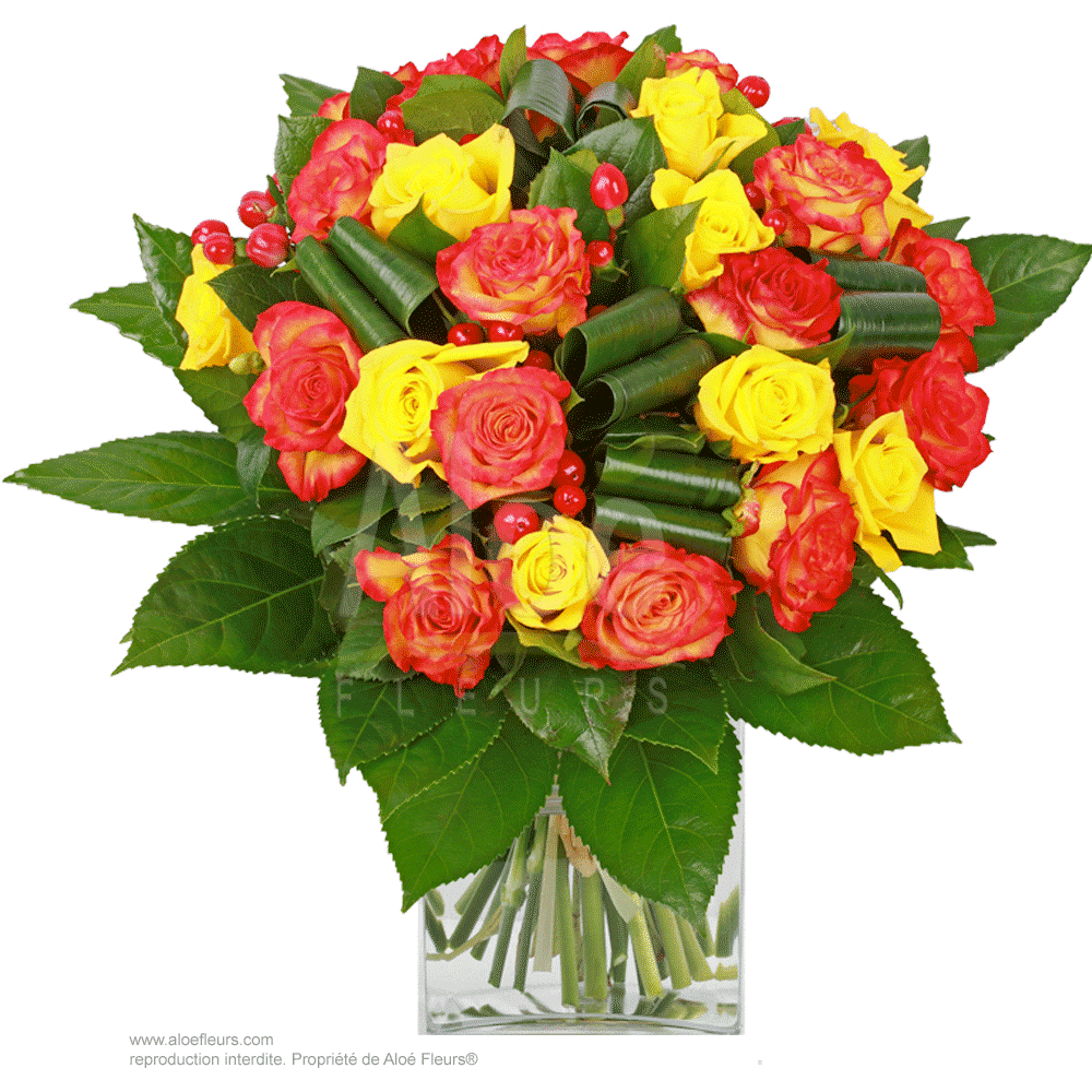 Bouquet-Roses-Jaune-&-orange