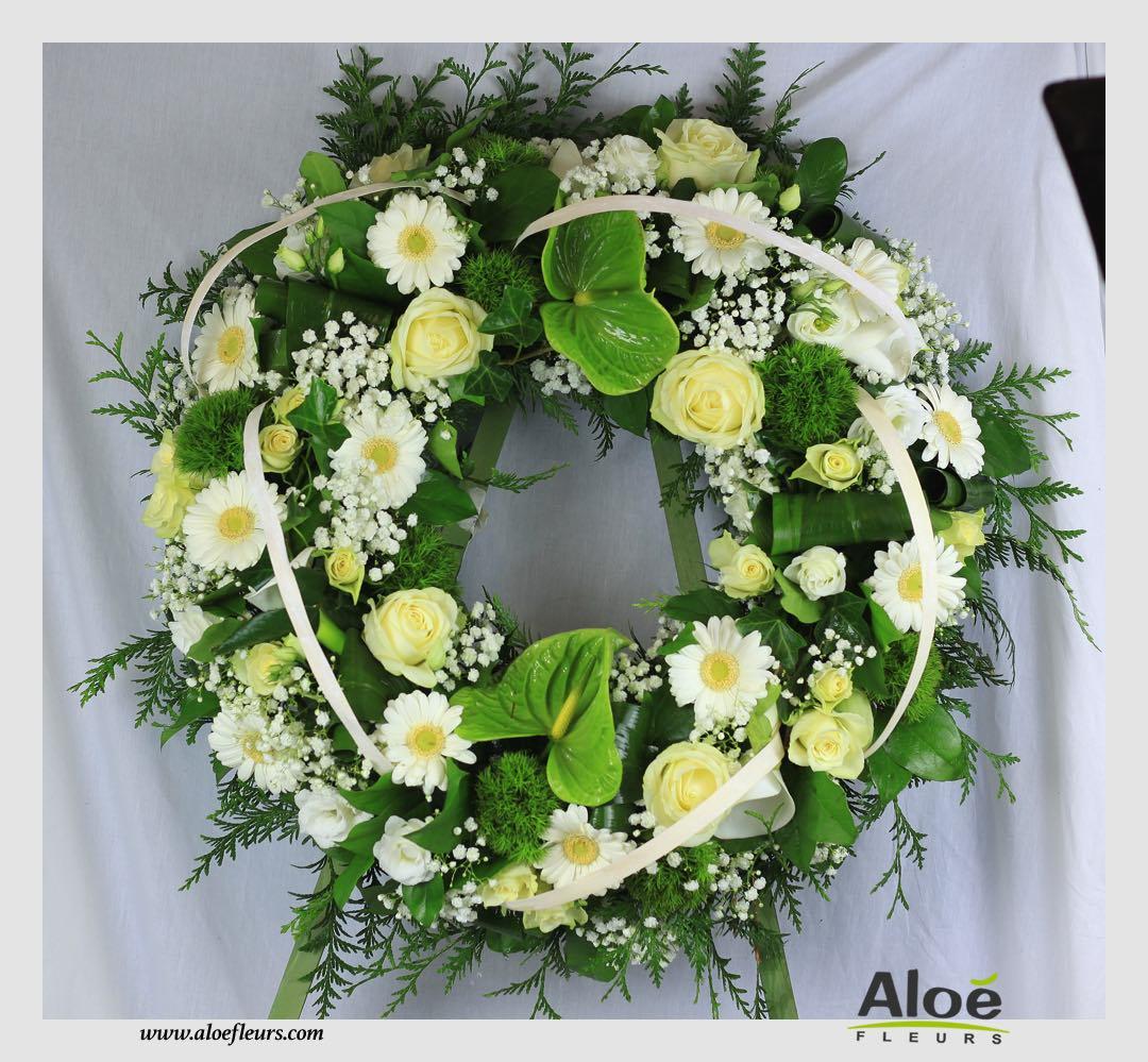 décoration florale deuil couronne aloé fleurs forbach
